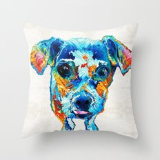 Colorful Little Dog Pop … Throw Pillow