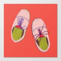 Polka Dot Shoes Canvas Print