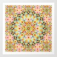 Pink Carousel Mandalas Art Print