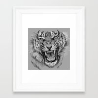 Tiger Drawing Black and White Animals Framed Art Print