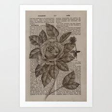 Dotwork Rose Art Print
