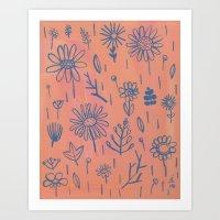 Peach Floral Art Print