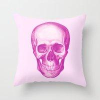Fucsia Skull Throw Pillow