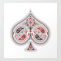 83 Drops - Spades (Red &… Art Print