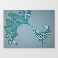 Blue And Silver Bird Canvas Print