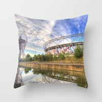 West Ham Olympic Stadium And The Arcelormittal Orbit  Throw Pillow