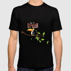 Vintage fly to Brazil Toucan Travel Poster Mens Fitted Tee Black SMALL