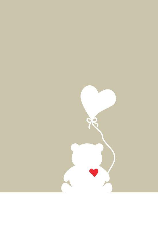 Teddy Bear Beige Heart Love Art Print