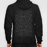 Abstract Collide Outline White on Black Hoody