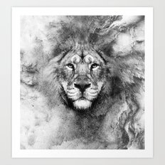 Lion Black and White Art Print