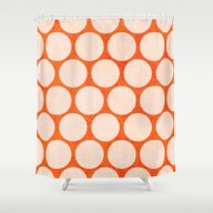 Orange And White Polka D… Shower Curtain