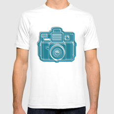 I Still Shoot Film Camera Logo White SMALL Mens Fitted Tee