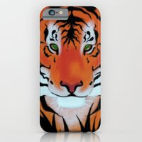 iPhone & iPod Case featuring Green Eyes, Tiger by Patrickcollin