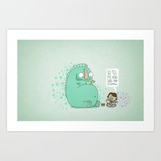 Monster and Tea Art Print