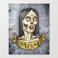 'Mom' Zombie Tattoo print Canvas Print