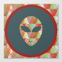 retro pattern and alien 1 Canvas Print
