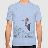 The Golden Mermaid Mens Fitted Tee Tri-Blue SMALL