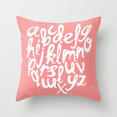 CORAL ALPHABET Throw Pillow