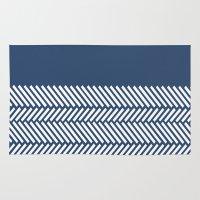 Herringbone Boarder Navy Rug
