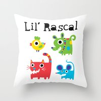 Lil' Rascal - Critters Throw Pillow