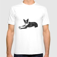Fetch Boston Terrier B/W Mens Fitted Tee White SMALL