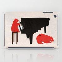 A Sleepy bear playing piano iPad Case