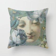 Blue Bird Moon Face Throw Pillow
