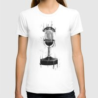 DARK MICROPHONE Womens Fitted Tee White SMALL