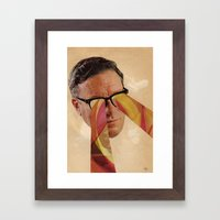 Vintage Business Man with Retro Pattern Laser Eyes Framed Art Print