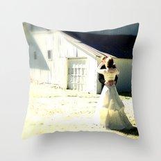 A sunlit country wedding Throw Pillow