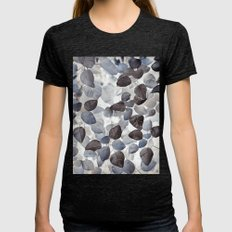 Blue Leaves Womens Fitted Tee Tri-Black SMALL