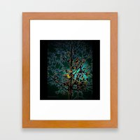Autumn Tree on Turquoise Background Framed Art Print