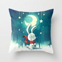 Moon Bunny 2 Throw Pillow