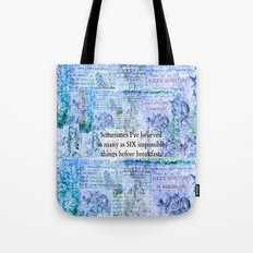 Alice in Wonderland, Six Impossible Things Quote Tote Bag