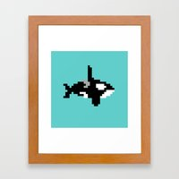 8-bit Orca Framed Art Print