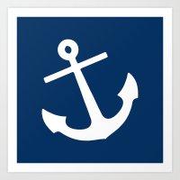 Navy Blue Anchor Art Print