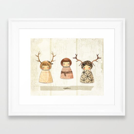 Deer paperdolls Framed Art Print