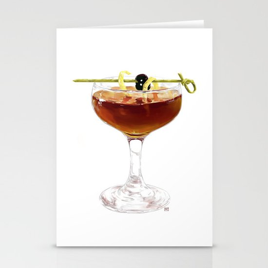 Game Set Match cocktail Stationery Card