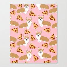 Welsh Corgi Pizza pattern funny dog art customized pet portrait children fur baby must have corgi  Canvas Print