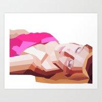 Girl and Lines Art Print