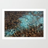 Aqua and Brown Color Photo Art Print
