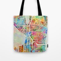 Seattle Washington Street Map Tote Bag