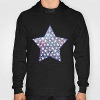 White stars on bold grunge blue background Hoody