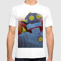 Retro Robot With Yellow … Mens Fitted Tee White SMALL