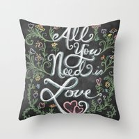 All You Need is Love Chalkboard Art Throw Pillow