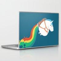 unicorn Laptop & iPad Skins featuring Fat Unicorn on Rainbow Jetpack by Picomodi