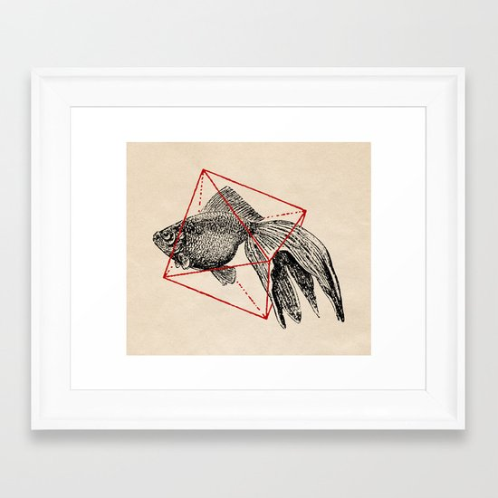 Fish In Geometrics III Framed Art Print