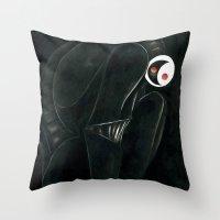 Moonbot #0: Black Throw Pillow