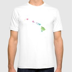 Typographic Hawaii in Spring SMALL Mens Fitted Tee White