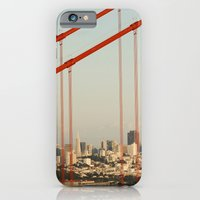 iPhone Cases featuring golden san gate francisco bridge by Bianca Green